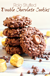 Rolo Stuffed Double Chocolate Cookies by DelightfulEMade.com