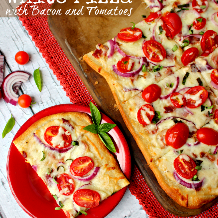 White Pizza with Bacon and Tomatoes by DelightfulEMade.com