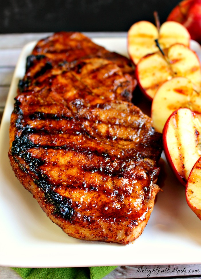 The ultimate recipe for glazedpork chops! Coated with an apple cider glaze, and grilled to perfection, these sweet and savory grilled pork chops are perfect any time you're in the mood for meat!