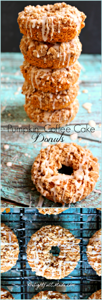 Pumpkin Coffee Cake Donuts by DelightfulEMade.com