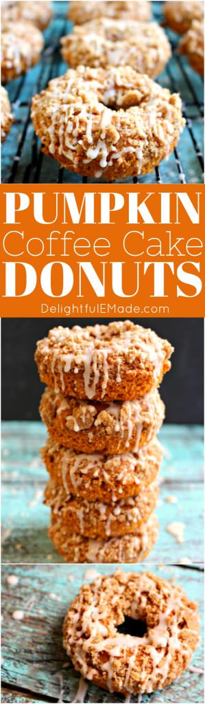 Need an excuse to do some fall baking? These Pumpkin Cake Donuts are the perfect recipe to indulge your pumpkin spice cravings. Baked, not fried, these donuts are topped with a cinnamon streusel and lightly glazed to perfection!