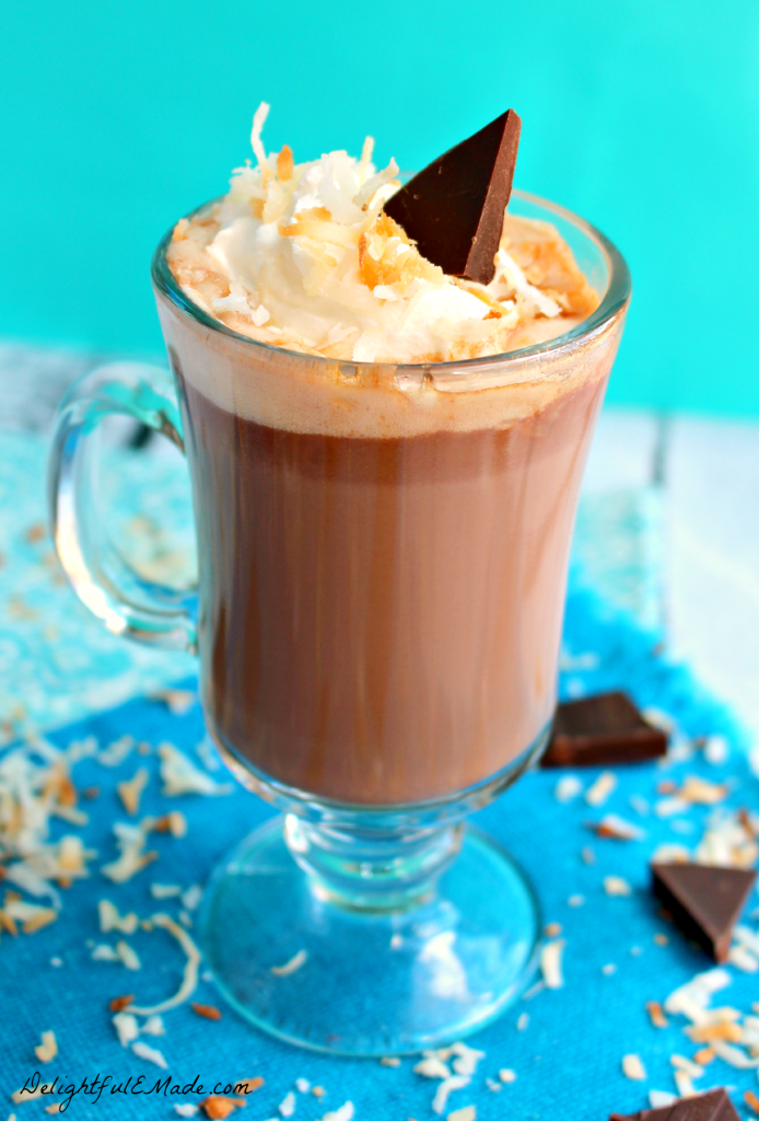 Forget the mix!  Enjoy a warm, creamy cup of  hot chocolate with a hint of coconut.  Best Hot Chocolate, EVER!
