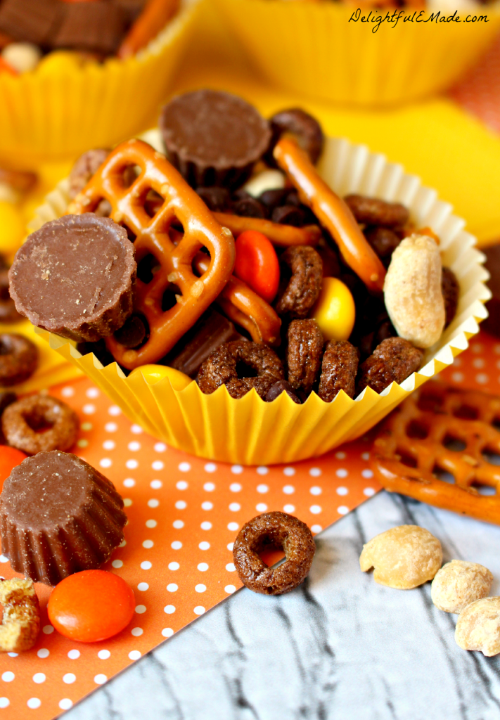 If you like Reese's, you'll love this salty-sweet snack mix!  Loaded with all your favorites, its the perfect snack!