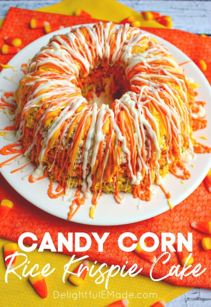 Orange, yellow and white decorated candy corn rice krispie cake.