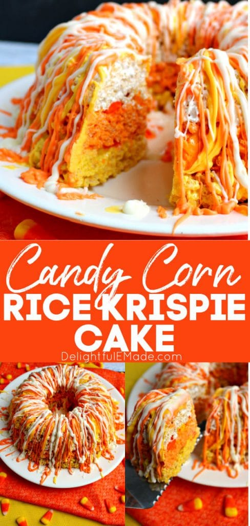 White, orange and yellow layered rice krispie cake, made to look like a piece of candy corn.