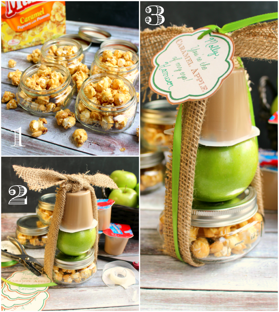Snack Pack Caramel Pudding paired with an apple and caramel Crunch and Much to make the perfect fall goodie!