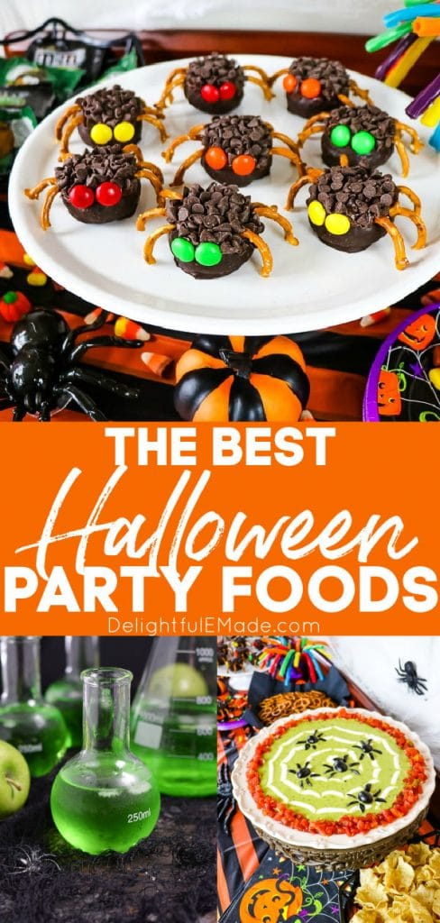Halloween party foods, chocolate donut spiders, green punch in a test tube and spiderweb guacamole dip.