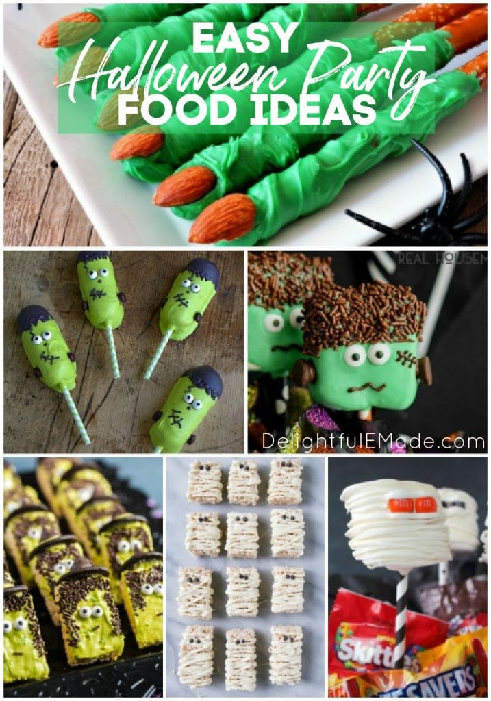 Photo collage of halloween party foods; frankenstein twinkies, mummy pops, green witch fingers.