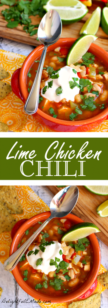 An easy, healthy, delicious dinner that's ready in under 30 minutes! Made with chicken, beans and peppers along with fresh lime juice and cilantro, this chili is fabulous!