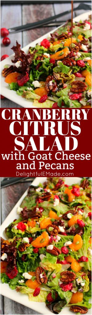 The perfect side dish for your holiday dinner, this Cranberry Salad recipe with Goat Cheese Crumbles and sweet Brown Sugar Pecans is flavorful and delicious!  Mandarin oranges, cranberries, goat cheese crumbles and pecans are a cool, crisp partner for just about any meal.