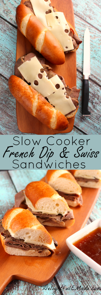 These easy Slow Cooker French Dip & Swiss sandwiches are the perfect way to get your family fed when your day is hectic. Easy to make, delicious and ready when you are - dinner is served!