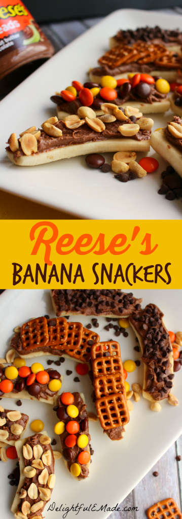 Sliced bananas are layered with Reese's Spread and topped with your favorite crunchy treats like pretzels, chocolate chips, Reese's Pieces and salted peanuts. The perfect snack to satisfy any craving! #AnySnackPerfect #shop