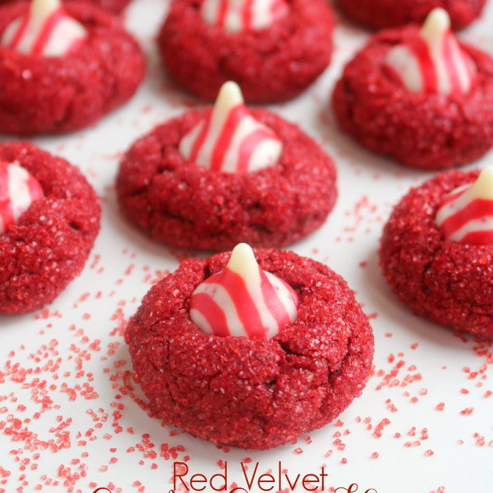 Red Velvet Candy Cane Kiss Cookies
