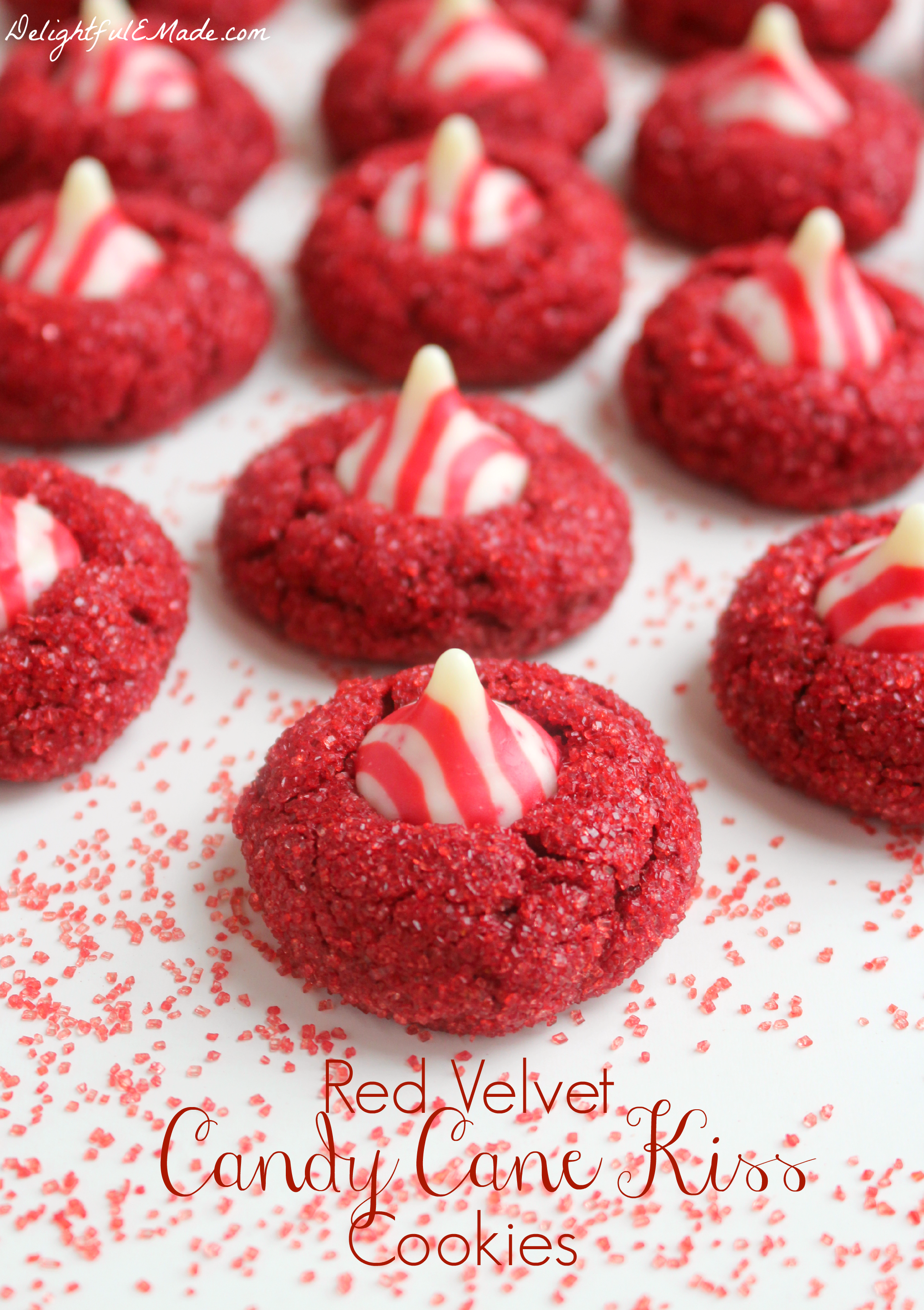 Red Velvet Candy Cane Kiss Cookies - Delightful E Made