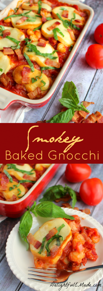 Mini gnocchi are paired with fire-roasted tomatoes, bacon, red onions, and topped with thick slices of smoked mozzarella. Baked to perfection, this classic Italian fare brings amazing savory flavor and is the ultimate comfort food!