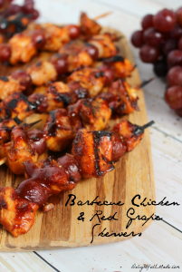 A fantastic quick, easy & delicious dinner idea that the entire family will love! Smokey barbecue sauce covers these chicken and red grape skewers, making the savory sweet flavor combination amazing!