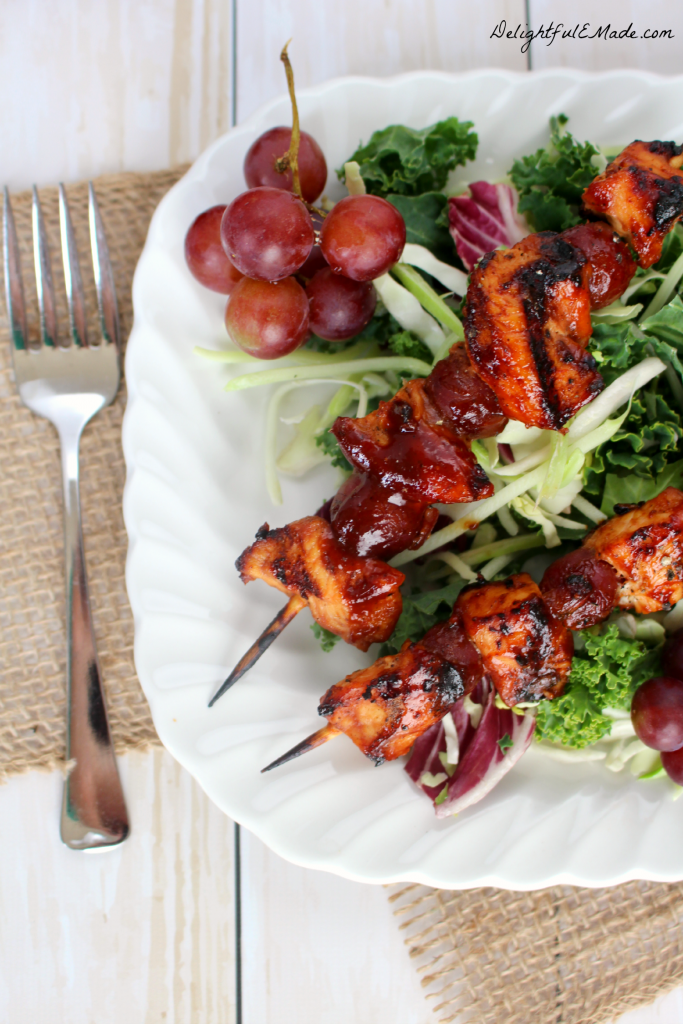 Fire up the grill for this quick, easy & delicious dinner idea!  Smokey barbecue sauce covers these chicken and red grape skewers, making the savory, sweet flavor combination amazing!  Great for tailgating and watching the big game, too!