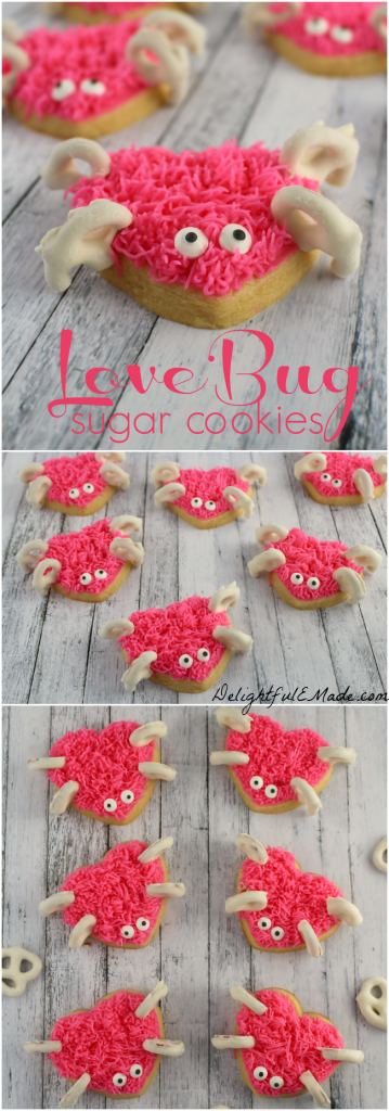 "The ultimate Valentine's Day treat!  These adorable heart shaped sugar cookies are frosted with pink icing and decorated with yogurt covered pretzels to create these super-sweet Love Bugs!  Fantastic for a classroom party snack and amazing for all of the ""love bugs"" in your life!"