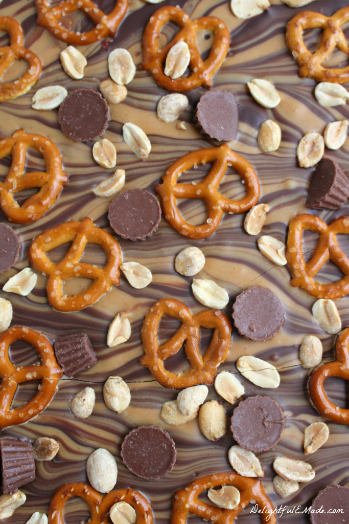 This Peanut Butter Pretzel Bark is perfect to satisfy any craving for chocolate and peanut butter!  An amazing salty-sweet treat!