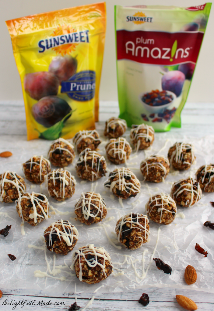 These Plum and Almond Energy Bites are the perfect snack when you're craving something sweet!  Made with sweet, delicious dried plums & prunes, almonds, oats, and a drizzle of white chocolate, its the perfect healthy snack!