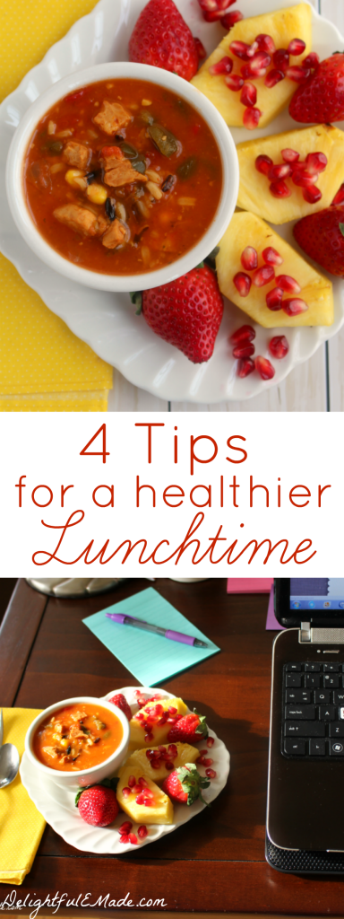 I've got Four Tips for a Healthier Lunchtime that are sure to get you on the right track for eating healthier during the day!