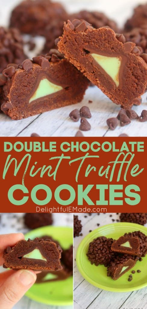 Double chocolate mint chocolate cookies and chocolate mint chip cookies.