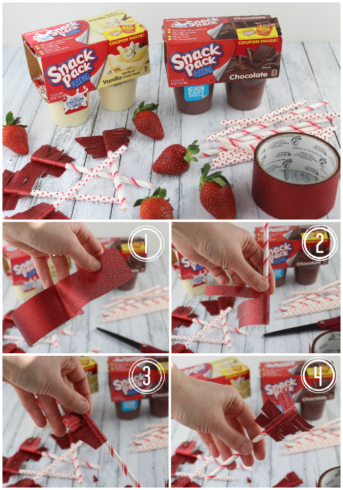 Made with Snack Pack Pudding Cups, and topped with chocolate covered strawberry cupid arrows, these snacks are perfect for celebrating your sweethearts!
