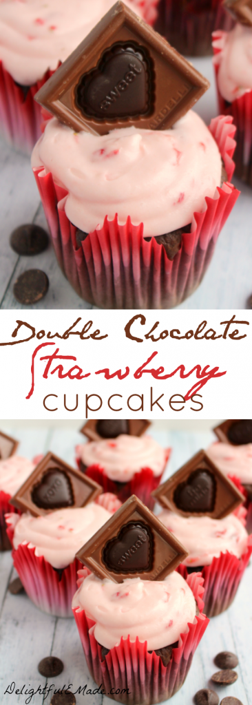 These decadent cupcakes start with a super moist, delicious chocolate cake, studded with Ghirardelli Premium Baking Chips, and topped with a strawberry cream cheese frosting and garnished with a beautiful Ghirardelli Valentine Impressions chocolate! Beautiful and delicious!