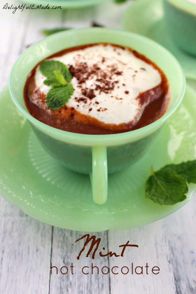 ... cup of home made Mint Hot Chocolate! It's so easy to make using