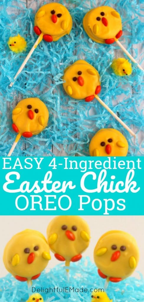 These adorable Easter Chick OREO pops are the perfect treat for any Easter basket!  Made with just 4 ingredients, these cute edible Easter OREO pops are perfect for celebrating spring!