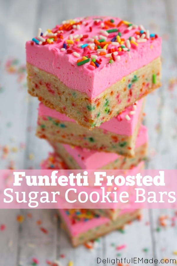 One of the BEST cookie bar recipes! These thick, chewy frosted sugar cookie bars are loaded with sprinkles and topped with a thick layer of rich butter cream frosting. Every sprinkle lovers dream!