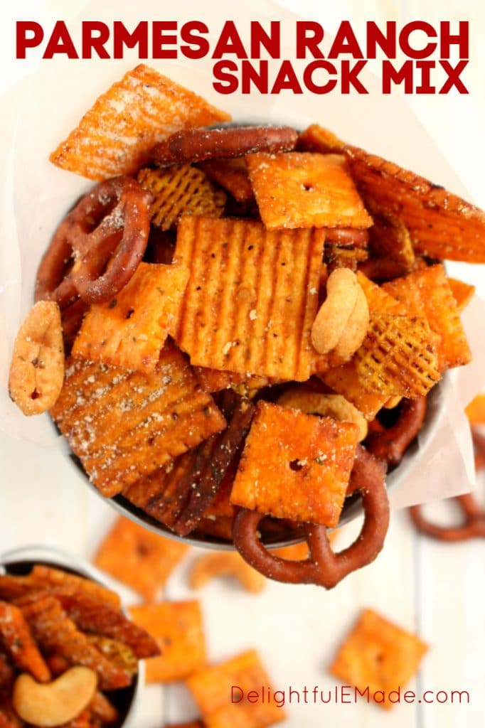 This crock pot snack mix recipe is the ultimate savory snack! Made with everyone's favorite Cheez-It crackers, cashews, and pretzels, this ranch snack mix is perfect for watching the game, enjoying with friends or serving at any party.