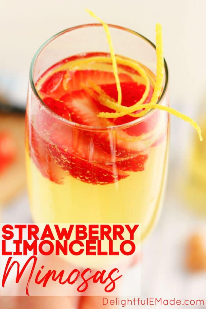 Strawberry limoncello spritzers, limoncello mimosas with sliced strawberries.
