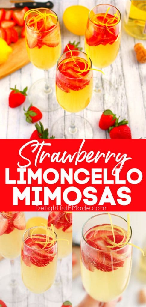 Strawberry limoncello mimosas with sliced strawberries and lemon zest.