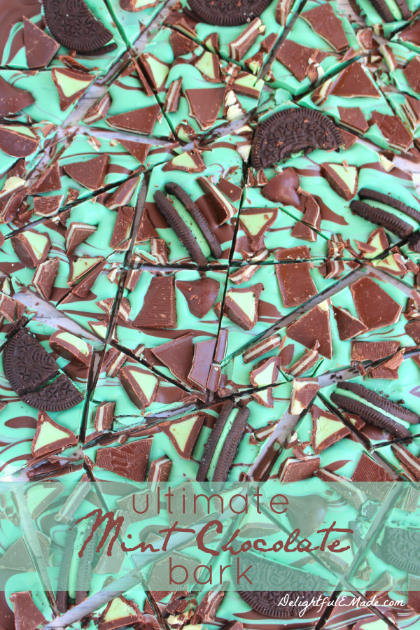 If you're a lover of chocolate and mint, you've gotta try this candy!  Super easy to make, and topped with your favorite chocolate and mint goodies, this chocolate candy bark will become a must-have!