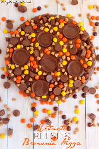 Loaded with REESE'S Pieces, Peanut Butter Cups, Mini's, Peanut Butter Chips, and a chocolate peanut butter frosting, this brownie is the perfect snack time treat!