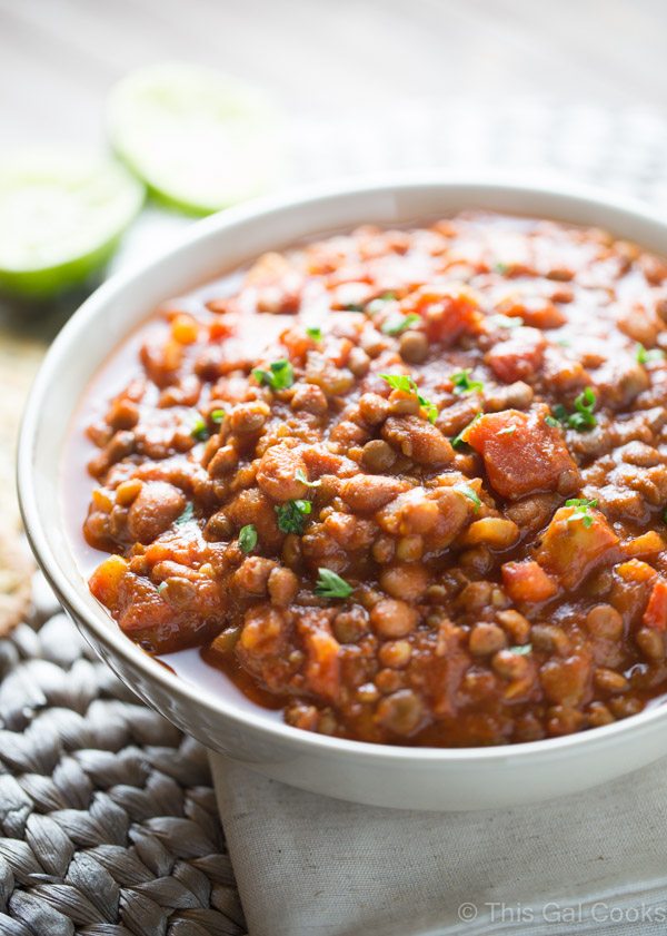 20-Minute Easy Lentil Chili by This Gal Cooks