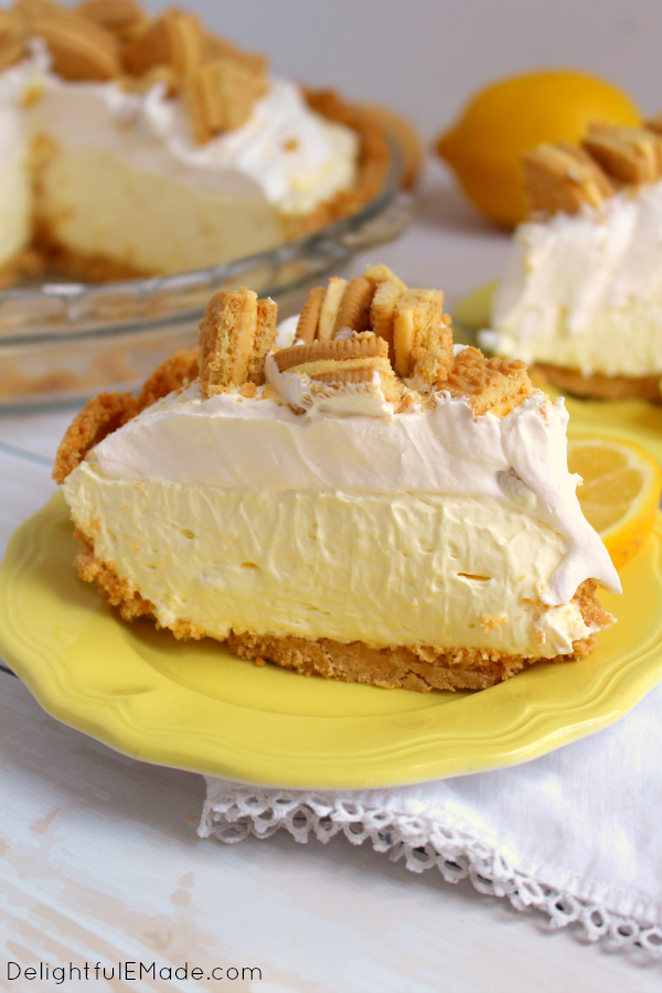 The best lemon pie you'll ever have! Made with a lemon OREO crust, filled with a creamy lemon filling and topped with more crunchy lemon OREO cookies, this dessert will be the highlight of your day!