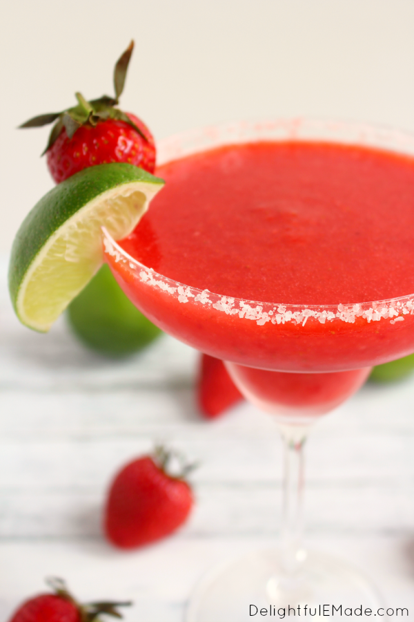Strawberry Lime Margarita, shared by Delightful E Made at The Chicken Chick's Clever Chick's Blog Hop