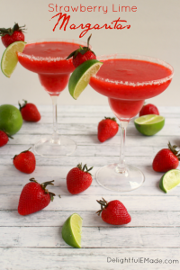 Bust out the tequila, its time for a Margarita! Blended with frozen strawberries, lime juice, and rimmed with salt, these frozen margaritas are easy to make and wonderfully refreshing!