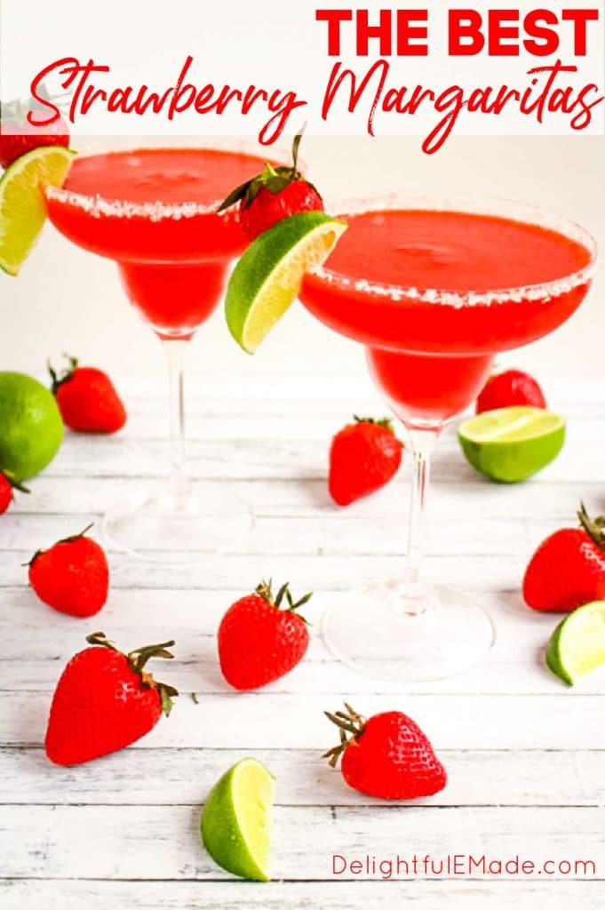 Strawberry lime margaritas, in two glasses, frozen strawberry margarita recipe.