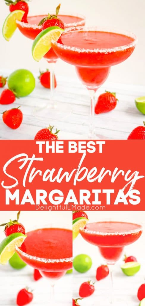 Frozen strawberry margarita recipe, in ups glasses, garnished with fresh strawberries and lime wedges.