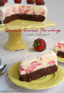 Chocolate Covered Strawberry Ice Cream Dessert