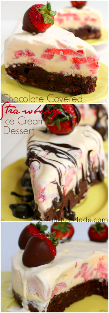 The ultimate summer dessert!  Chocolate covered strawberries tops a cool, creamy vanilla ice cream with fresh strawberries and a fudge brownie crust.  Drizzled with hot fudge, its a slice of heaven!