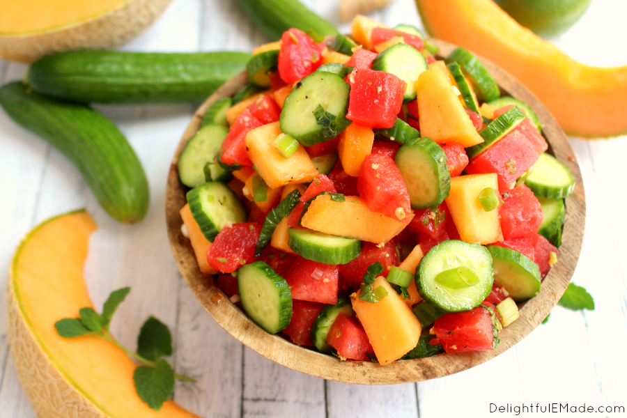 A new fruit salad brought to a whole new level! Crunchy cucumbers, sweet watermelon and cantaloupe along with a delicious lime-ginger dressing makes this salad wonderfully fresh and delicious!