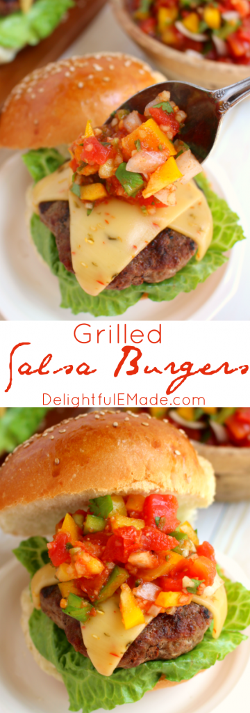 Fire up the grill, its time for some amazing burgers! Salsa made with delicious tomatoes, peppers, onions and garlic, along with pepper jack cheese bring serious flavor and freshness to our favorite summertime staple!