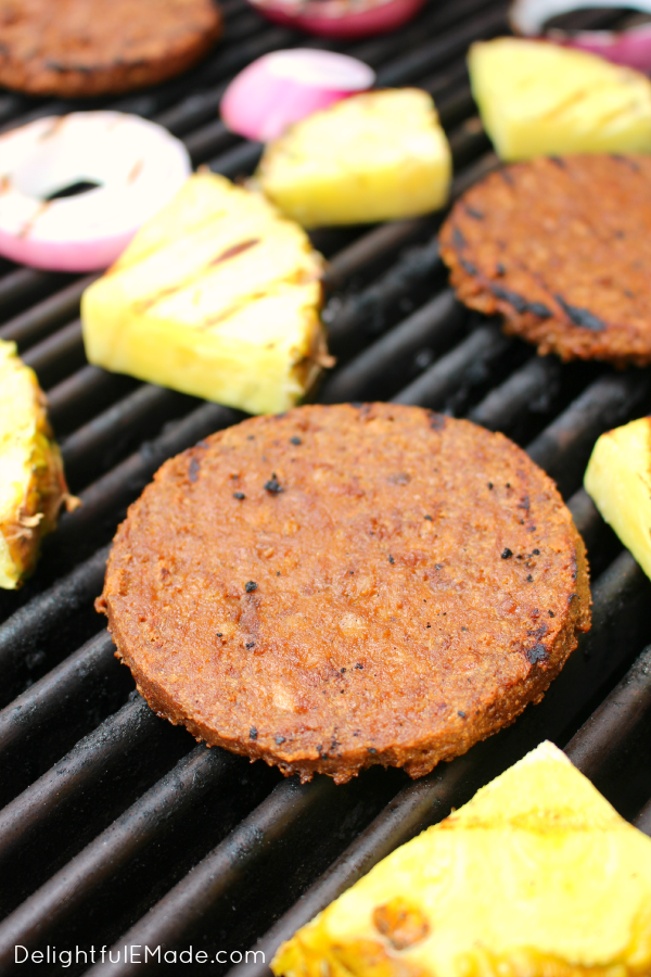 Loaded with grilled pineapple, red onion and a sweet BBQ sauce, these burgers are a must-have at your next cookout!  An excellent option for vegetarians, this burger will have the carnivores jealous!