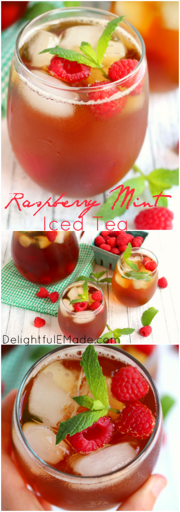 There's nothing better than a cold, refreshing glass of raspberry iced tea to quench your thirst!  Made with fresh mint, raspberries and steeped to perfection, this easy iced tea recipe is the perfect drink for sipping on a hot summer day!