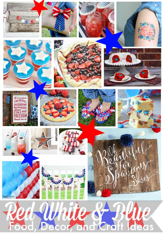 Red, White and Blue Food Decor and Craft Ideas