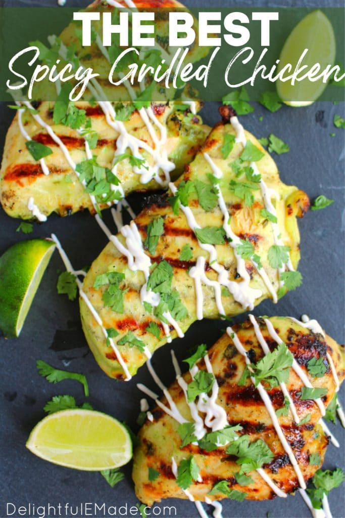 Spicy grilled chicken drizzled with sour cream and topped with chopped cilantro. Lime wedges for garnish.